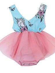 お買い得  -赤ちゃん 女の子 活発的 プリント ノースリーブ ポリエステル ワンピース ピンク
