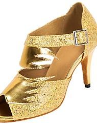 abordables -Mujer Zapatos de Baile Latino Sintéticos Tacones Alto Corte Slim High Heel Personalizables Zapatos de baile Dorado / Plata / negro