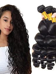 Недорогие -4 Связки Индийские волосы Свободные волны Натуральные волосы Необработанные натуральные волосы Подарки Косплей Костюмы Человека ткет Волосы 8-28 дюймовый Естественный цвет Ткет человеческих волос
