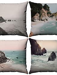 Χαμηλού Κόστους -4.0 τεμ Βαμβάκι / Λινό Μαξιλαροθήκη, Μοτίβο Ναυτικό Με Μοτίβο Εμπνευσμένο από τη Φύση