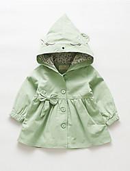 billige -Baby Pige Basale Ensfarvet Normal Bomuld Trenchcoat Grøn