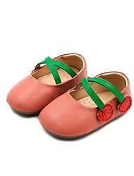 halpa -Tyttöjen Kengät Tekonahka Kevät Comfort / Ensikengät Tasapohjakengät varten Vauvat Musta / Beesi / Persikka