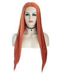 billiga -Syntetiska snörning framifrån Silky rakt Stil Middle Part Spetsfront Peruk Rosa Orange Syntetiskt hår 24 tum Dam Justerbar / Värmetåligt / Party Rosa / Black-Blonde Peruk Lång Cosplay Peruk / Ja
