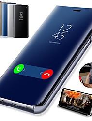 Недорогие -Кейс для Назначение SSamsung Galaxy S9 / S9 Plus / S8 Plus со стендом / Покрытие / Зеркальная поверхность Чехол Однотонный Твердый Кожа PU