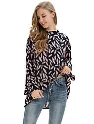 billiga -kvinna eu / us storlek t-shirt - blommig rund hals