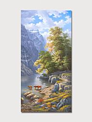 voordelige -Hang-geschilderd olieverfschilderij Handgeschilderde - Landschap Bloemenmotief / Botanisch Modern Inclusief Inner Frame
