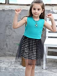 Χαμηλού Κόστους -Παιδιά Κοριτσίστικα Μονόχρωμο Δίχτυ Βαμβάκι Φόρεμα Μαύρο