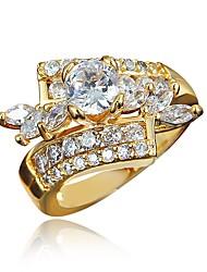 baratos -Mulheres Claro Zircônia Cubica Clássico Anel Anel de noivado Banhado a Ouro 18K Imitações de Diamante Estiloso Luxo Romântico Fashion Elegante Anéis Jóias Dourado / Prata Para Festa Noivado Presente