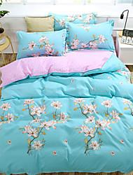 cheap -Duvet Cover Sets Floral Polyster Reactive Print 4 PieceBedding Sets