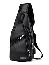 Недорогие -Муж. Молнии PU Слинг сумки на ремне Черный / Коричневый / Темно-коричневый