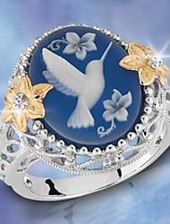 billige -Dame Blå Kvadratisk Zirconium Klassisk Statement Ring Fugl Stilfuld Luksus Europæisk Moderinge Smykker Blå Til Fest Gave Stævnemøde 6 / 7 / 8 / 9 / 10
