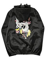 Недорогие -Муж. Повседневные Классический Обычная Куртка, Однотонный Капюшон Длинный рукав Хлопок Белый / Черный L / XL / XXL / Тонкие