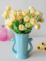 abordables -Fleurs artificielles 2 Une succursale Classique Accessoires de Scène style pastoral Roses Fleurs éternelles Fleur de Table