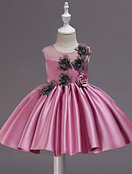 voordelige -Kinderen / Peuter Meisjes leuke Style / Chinoiserie Effen / Bloemen Mouwloos Tot de knie Polyester Jurk Blozend Roze