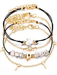 tanie -4 szt. Damskie Wielowarstwowy Zestaw bransoletek Elegancki Modny Bransoletki Biżuteria Złoty Na Prezent Ulica