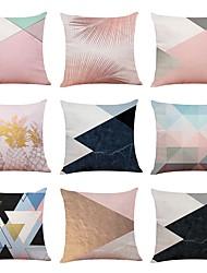 abordables -9 pcs Lin Housse de coussin, simple Formes Géométriques Texturé Nouvelle arrivee Style européen