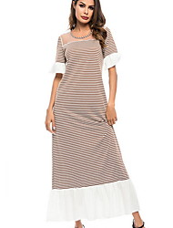 cheap -Women's Basic A Line Dress - Striped Print Green Red Light Brown L XL XXL