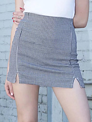 cheap -Women's Street chic A Line Skirts - Houndstooth