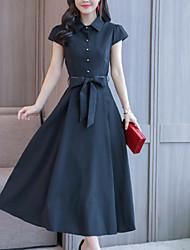 זול -מידי אחיד - שמלה חולצה אלגנטית בגדי ריקוד נשים