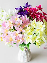お買い得  -人工花 2 ブランチ クラシック ステージ用小道具 田園 スタイル ユリ 永遠の花 テーブルトップフラワー