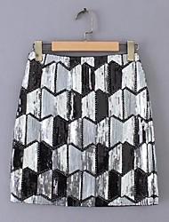 cheap -women's mini a line skirts - color block sequins