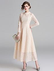 cheap -Women's Basic Swing Dress - Solid Colored Cut Out Beige L XL XXL