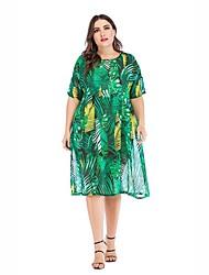 cheap -Women's Street chic Shift Dress - Floral Print Green One-Size