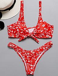 billige -Dame Rød Bikini Badetøj - Prikker M L XL Rød