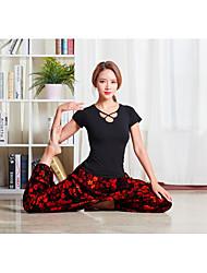 저렴한 -스포츠 댄스웨어 의상 / 요가 여성용 트레이닝 / 성능 비스코 크리스 크로스 짧은 소매 높음 탑 / 팬츠