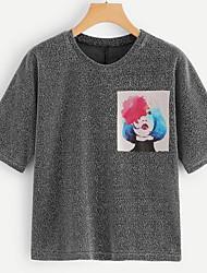 preiswerte -Damen Solide / Porträt T-shirt