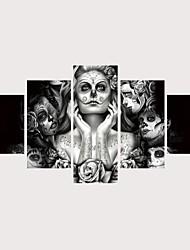 abordables -Imprimé Impressions sur toile roulées Impression sur Toile - Abstrait Portraits Abstraits Contemporain Moderne Cinq Panneaux
