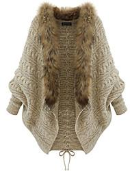 Недорогие -Жен. Шнуровка Костюмная куртка Хлопок, V-образный вырез Свободный силуэт Однотонный Черный