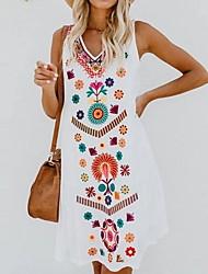 Недорогие -Жен. Большие размеры С цветами Вышивка Пляжный стиль Тонкие А-силуэт Туника Платье V-образный вырез До колена
