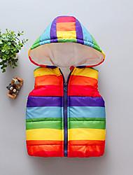 billige -Baby Pige Basale Regnbue Normal Polyester dun- og bomuldsforet Regnbue