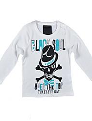 billige -Baby Gutt Aktiv / Grunnleggende Geometrisk / Trykt mønster Langermet Bomull / Polyester T-skjorte Hvit