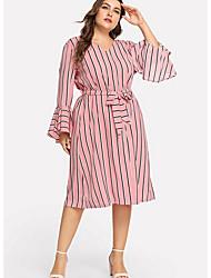 cheap -Women's Basic A Line Dress - Striped Print Pink XXL XXXL XXXXL