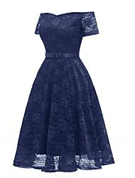 tanie -Damskie Szczupła Swing Sukienka Z odsłoniętymi ramionami Midi
