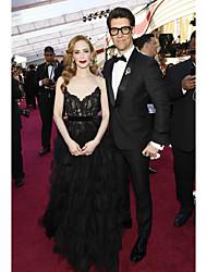 preiswerte -A-Linie Trägerlos Boden-Länge Spitze Formeller Abend Kleid mit Spitzeneinsatz durch TS Couture®