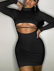 cheap -Women's Basic Street chic Bodycon Sheath Dress - Solid Colored Cut Out Green Black Fuchsia S M L