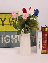 abordables -Fleurs artificielles 5 Une succursale Classique Accessoires de Scène Européen Roses Fleurs éternelles Fleur de Table