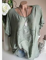 hesapli -Kadın artı boyutu pamuk gevşek t-shirt - düz renkli yuvarlak boyun