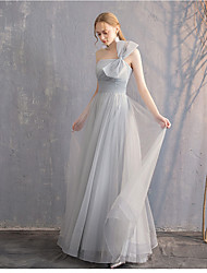 cheap -A-Line Off Shoulder Long Length Tulle Bridesmaid Dress with Pleats by LAN TING Express