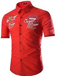 Недорогие -Муж. Рубашка Тонкие Буквы Черный / С короткими рукавами