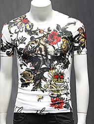 お買い得  -メンズスリムTシャツ - 幾何学的なラウンドネック