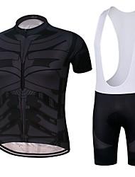 お買い得  -男性用 半袖 ビブショーツ付きサイクリングジャージー - ブラック バイク 速乾性 スポーツ スパンデックス クラシック マウンテンサイクリング ロードバイク 衣類