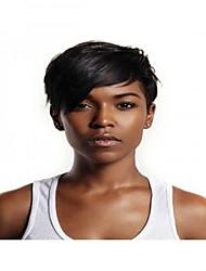 Χαμηλού Κόστους -Συνθετικές Περούκες Ίσιο Στυλ Με αφέλειες Χωρίς κάλυμμα Περούκα Μαύρο Κατάμαυρο Συνθετικά μαλλιά 8 inch Γυναικεία Απλός / συνθετικός / Η καλύτερη ποιότητα Μαύρο Περούκα Κοντό BLONDE UNICORN