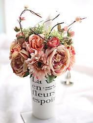 abordables -Fleurs artificielles 1 Une succursale Classique Européen Fleurs de mariage Roses Fruit Chrysanthème Fleur de Table