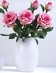abordables -Fleurs artificielles 2 Une succursale Classique Européen style pastoral Roses Fleurs éternelles Fleur de Table