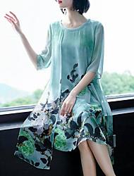 Недорогие -Жен. Большие размеры Хлопок Шифон Платье - Цветочный принт, С принтом До колена