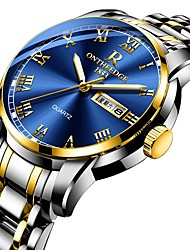Недорогие -Муж. Нарядные часы Японский Кварцевый Нержавеющая сталь Черный / Серебристый металл / Золотистый 30 m Защита от влаги Календарь Секундомер Аналоговый Роскошь Мода - Серебряный Темно-синий Синий